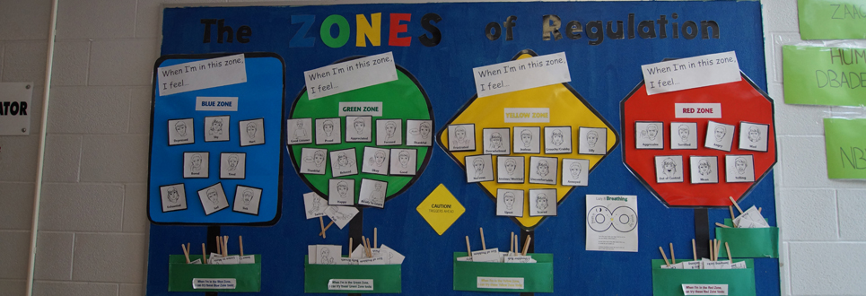 Bulletin Board promoting zones of regulations for students' emotions